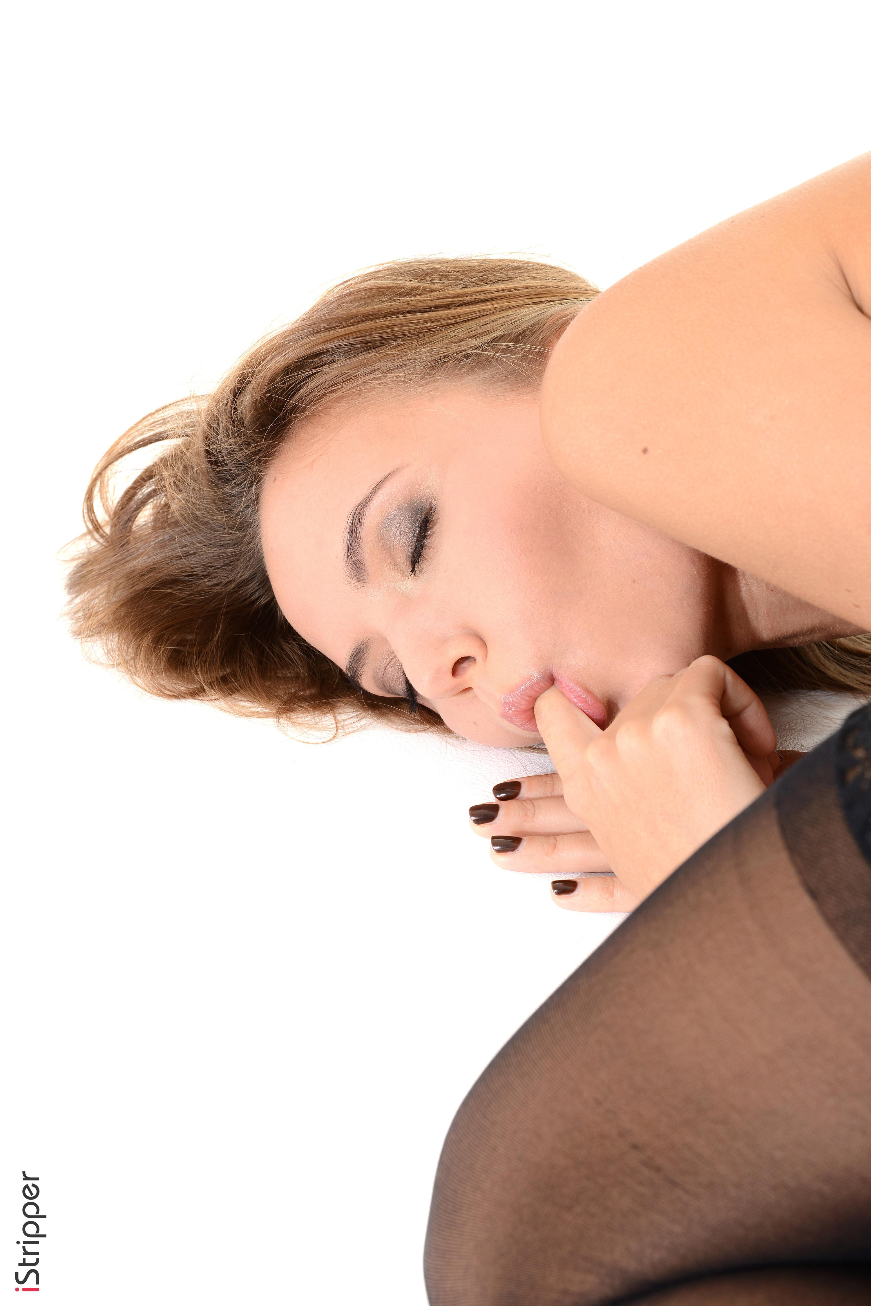 sexy-stockings nudekatya clover Frisky Katya Clover peels off her red skirt, white nylons ...